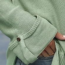 Chriselda Suéter Henley con cuello en V para mujer con mangas de botón y hombros caídos