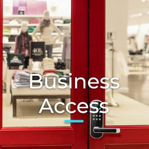 sifely smart door lock on small business storefront