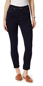 High Rise Roll Cuff Ankle Skinny Rinse
