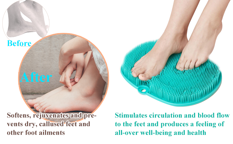 shower foot scrubber with suction cups