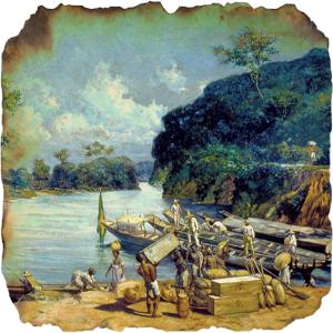 Escravos carregam canoas de uma monção no Rio Tietê