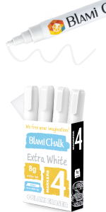 Four pack of markers with magic eraser sponge.