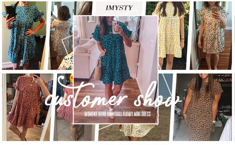 Womens Summer Bohemian Floral Printed Pleated Casual Loose Swing T-Shirt Dress