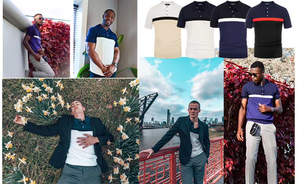 mens contrast knit golf polo shirts short sleeve fashion casual polo collar knitted t-shirts for men