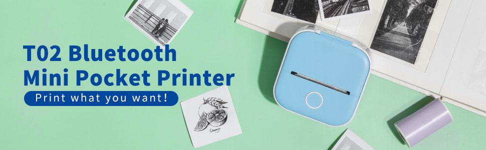 T02 Mobile Sticker Printer mini diy sticker teacher portable for Journal, Notes, Memo, Photo