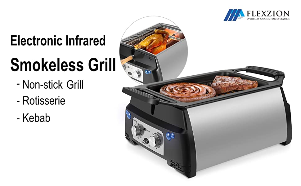 Simple Living Infrared Electric Smokeless Grill, XL Capacity with Non Stick Grilling Surface BBQ