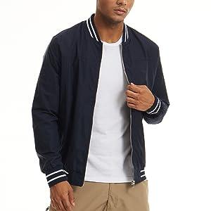 EKLENTSON Mens Jackets Windproof Varsity Pilot Fall Stand Collar Outdoor Jacket