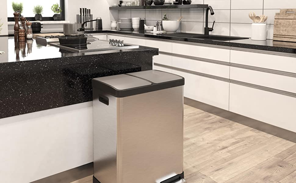 Kitchen Trash Can and Recycle Bin Combo Unit