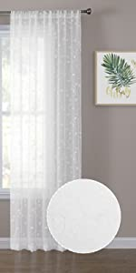 Tollpiz leaves sheer curtains leaf embroidery curtain, white, set of 2 panels