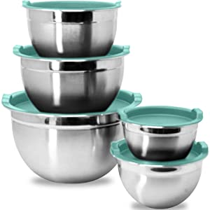 Stainless Steel Mixing Bowls with Blue Lids
