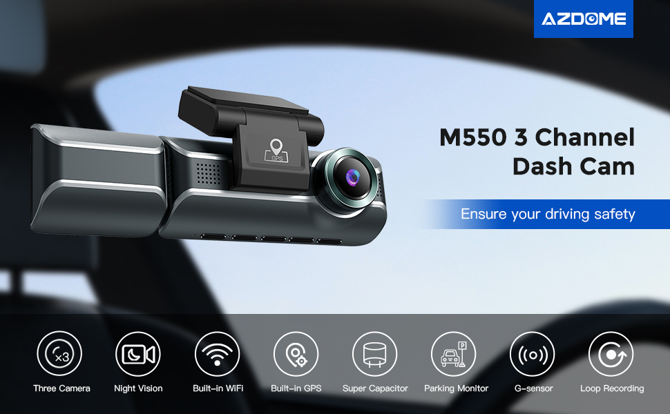 """Amazon.com: AZDOME M550 Dash Cam 3 Channel, Front Inside Rear  1440P+1080P+1080P Car Dashboard Camera Recorder, 4K+1080P Dual, 3.19"""" IPS,  Built in WiFi GPS, IR Night Vision, Capacitor, Parking Mode, with 32GB Card  :"""