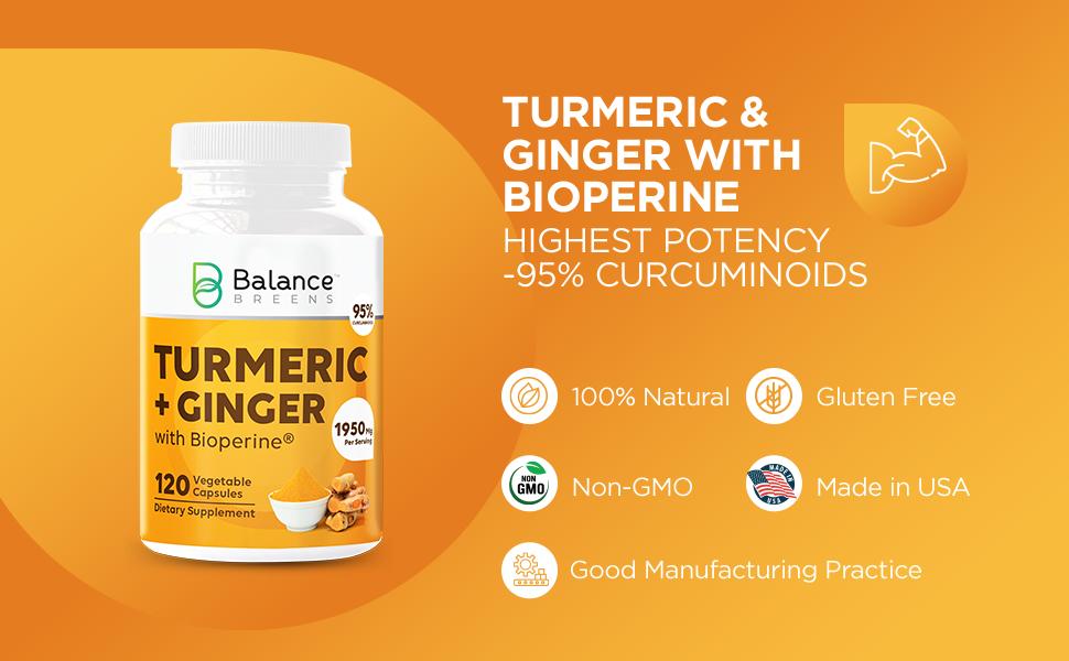 turmeric, ginger, bioperine, natural, gluten-free, non-gmo, made in USA, gmp