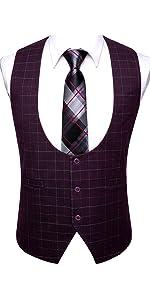 Black Vest U Neckties red Waistcoats