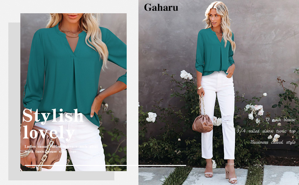 women's roll up long 3 4 sleeve chiffon casual tunic blouses shirt tops for work office business