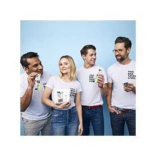 """Founders wearing """"This Bar Saves Lives"""" t-shirts and eating bars"""