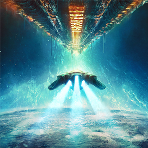 Starship Constitution fighting the alien threat