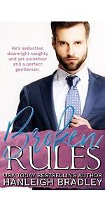 Broken Rules Book Cover. Girl sitting hugging her legs. Author Hanleigh Bradley.