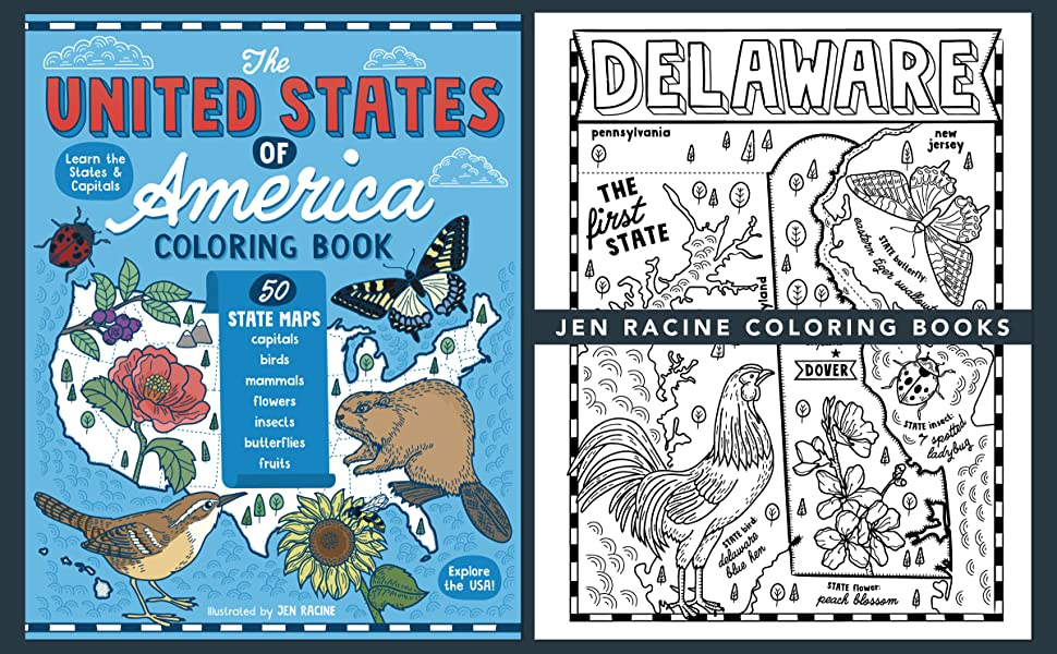 Cover of The United States of America coloring book with sample page of Delaware