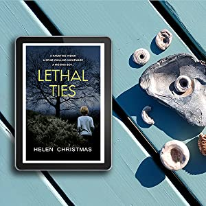 Tablet with Lethal Ties cover on a table with fossils