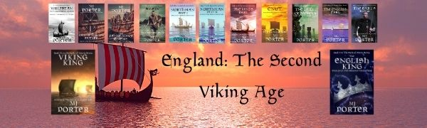 An image showing all 13 covers for The Earls of Mercia series. A Viking ship is in the background