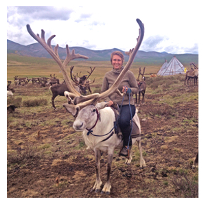 Suzanne on a reindeer in mongolia