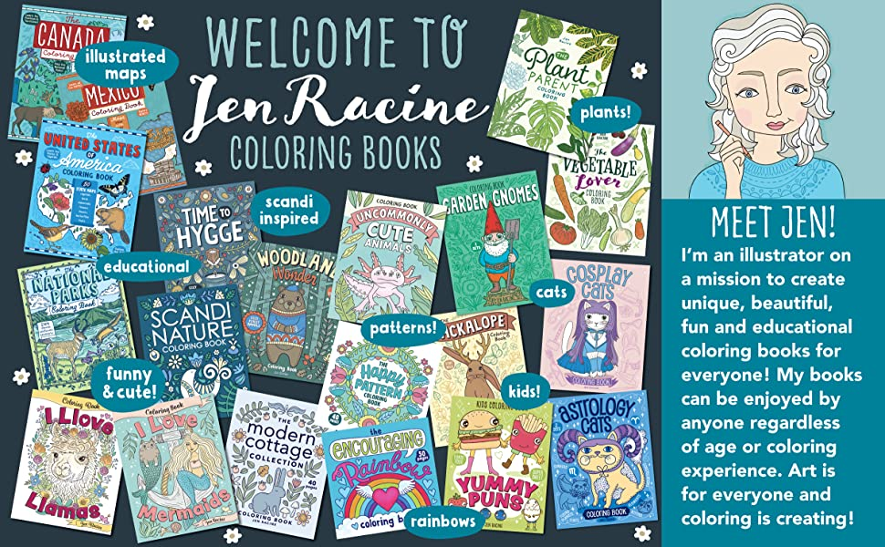 Welcome to Jen Racine coloring books with images of covers and meet Jen information
