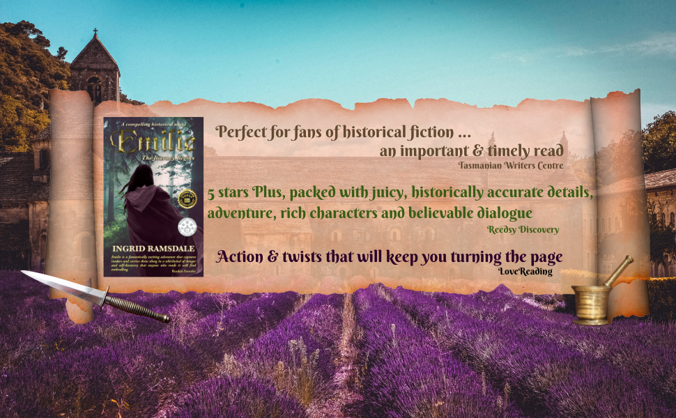 French monastery & lavender fields overlaid with parchment, book, dagger & pestle & mortar
