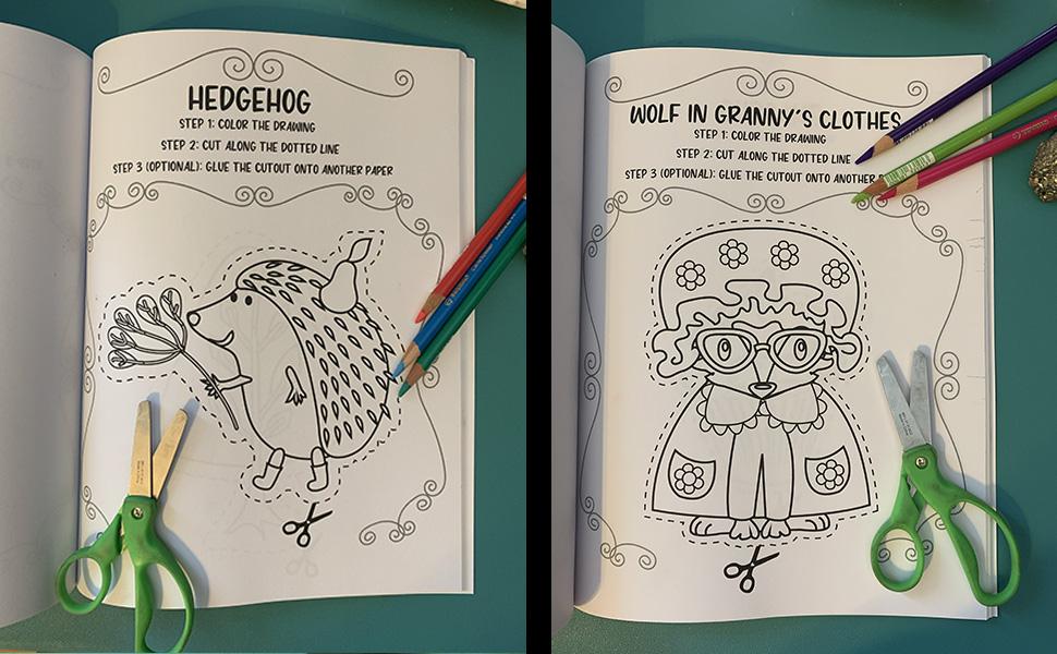 Red riding hood, little, scissor skills, for kids, preschool, kindergarten, age 2-4, 3-5, motor, cut