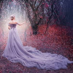woman in a seemingly magical forest