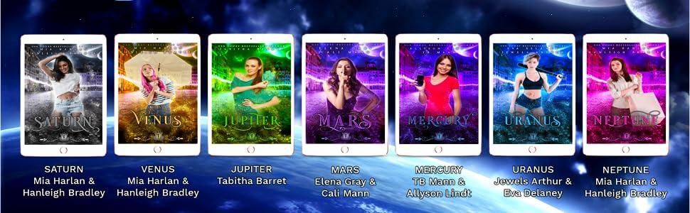 The Solar Mates books: Saturn, Venus, Jupiter, Mars, Mercury, Uranus and Neptune.