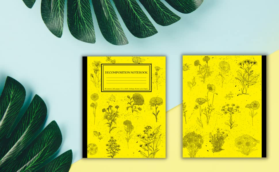 Decomposition Notebook Asters and Marigolds Design Cottagecore