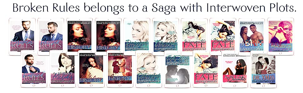 Text: Broken Rules belongs to a saga with interwoven plots. Graphic: 19 book covers.