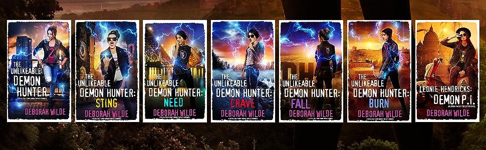all seven book covers from urban fantasy series Nava Katz