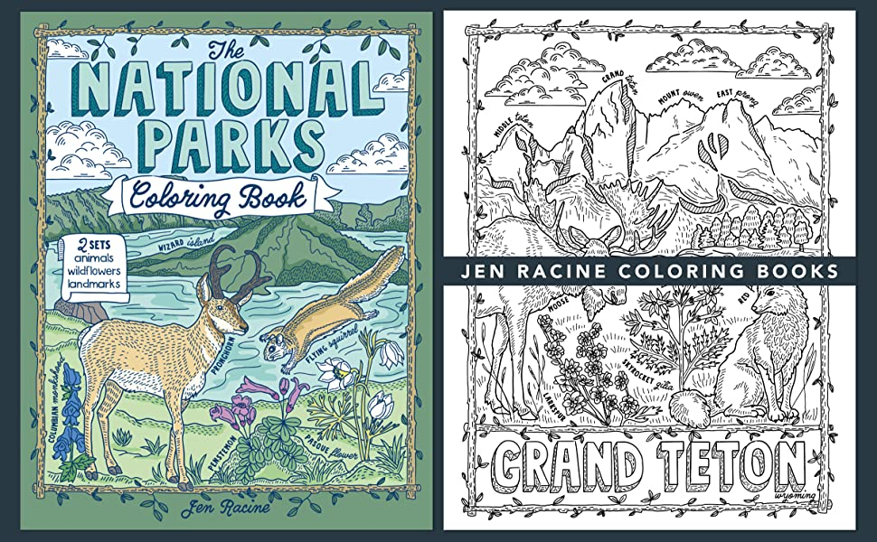 Cover of The National Parks Coloring Book with sample page of Grand Teton