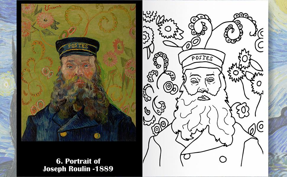 van gogh coloring page portrait book