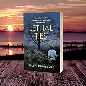 Paperback Book Lethal Ties on a table looking out over a beach sunset