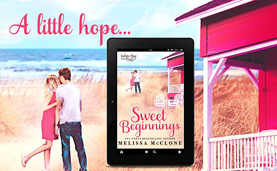 Sweet Beginnings ebook with couple and beach cottages. Words: A little hope...