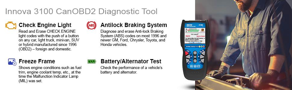 amazon com innova 3100i diagnostic code reader scan tool with abs