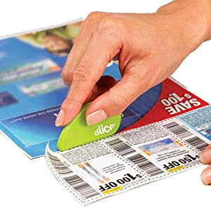 cuts coupons safely, non-sharp blade