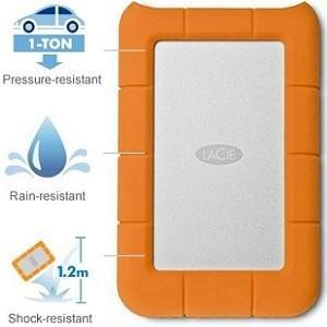 LaCie Rugged Mini 2.5 inch 7200rpm External Hard Drive for PC and Mac