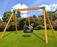 Free-Standing Wooden Tire Swing Set with Swing Set Brackets