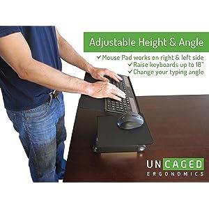adjustable height negative tilt stand up desk keyboard tray