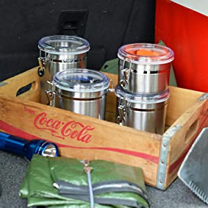 stainless steel; clamp top; canisters; outdoors; camping; garage; air tight clamp; outdoorsman