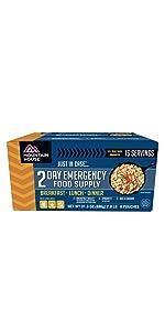 emegency food supply; emergency food kit; camping food; 2-day food supply; mre