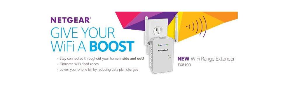 NETGEAR EX6100-100NAS AC750 WiFi Range Extender with Gigabit Ethernet