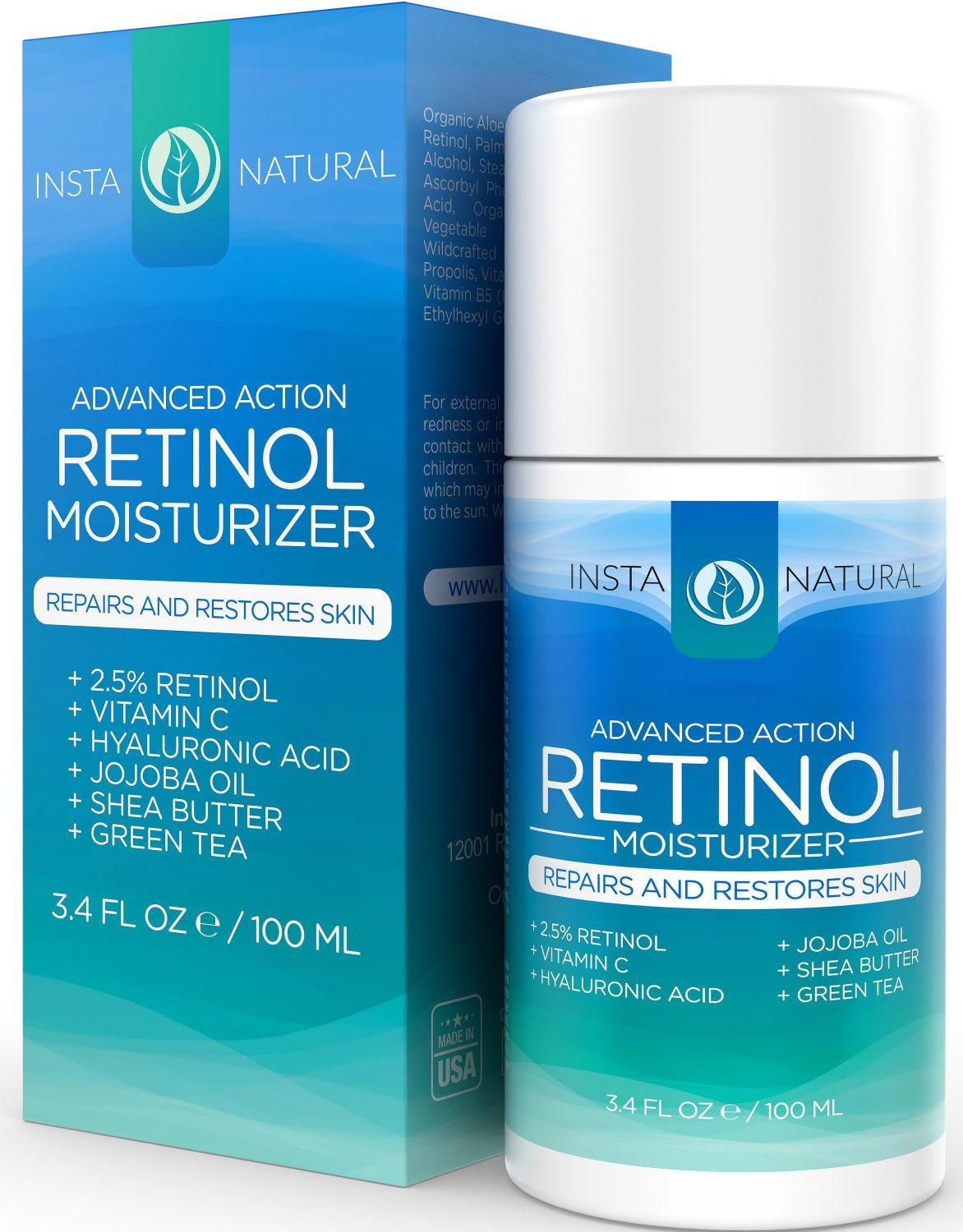 instanatural retinol moisturizer cream with 2 5 retinol 10 vitamin c hyaluronic acid. Black Bedroom Furniture Sets. Home Design Ideas