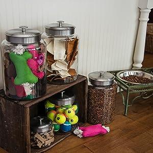pets; storage; glass; metal lids; treats; dog food; dog toys; tennis balls; dog treats; pet owner