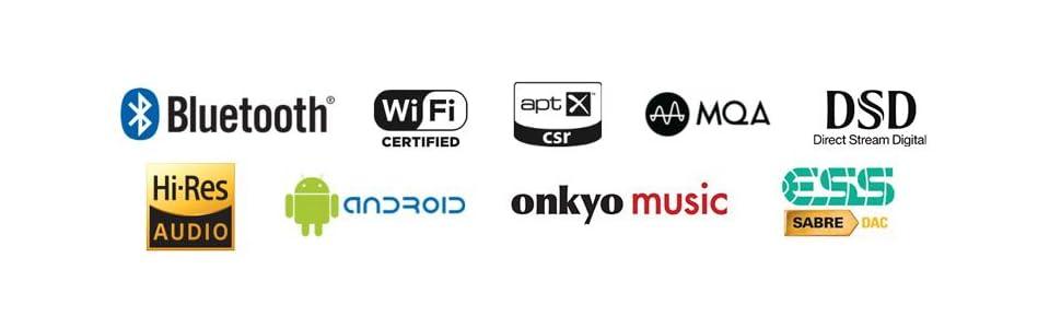 bluetooth, wi-fi, android, aptX, mqa, dsd, hi-res, audio, digital, player, ess, sabre, amp, dac