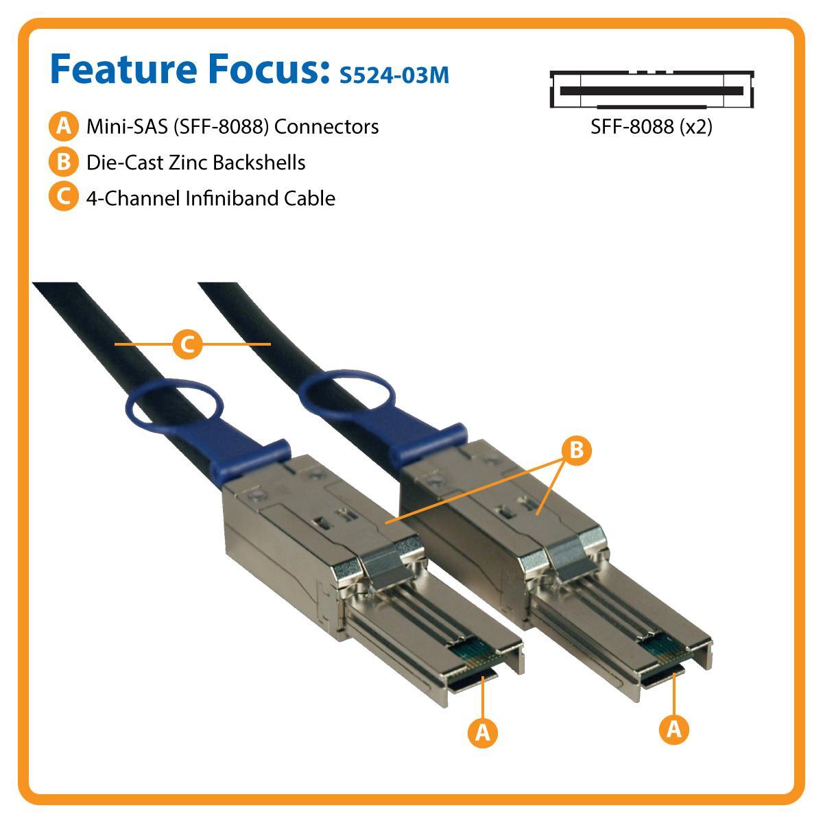 Amazon.com: Tripp Lite Cable externo SAS, Mini-SAS a Mini ...