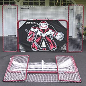 hockey goal, trainer, pucks, backstop, corner pocket, targets